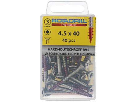 Rotadrill T25 vis pour bois dur 40x4,5 mm inox 40 pièces