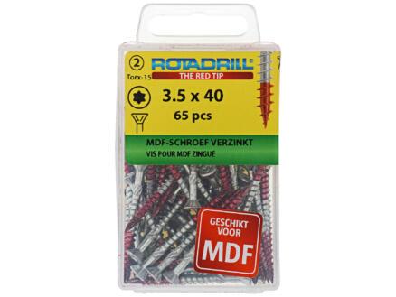 Rotadrill TX15 vis MDF 40x3,5 mm galvanisé 65 pièces