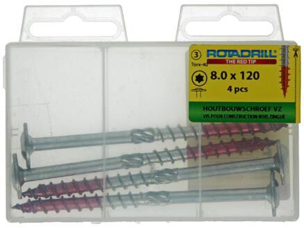 Rotadrill TX40 houtbouwschroef 120x8 mm verzinkt 4 stuks