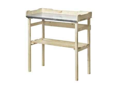 Garden Plus Table de rempotage avec plan de travail en zinc 37x78x83 cm