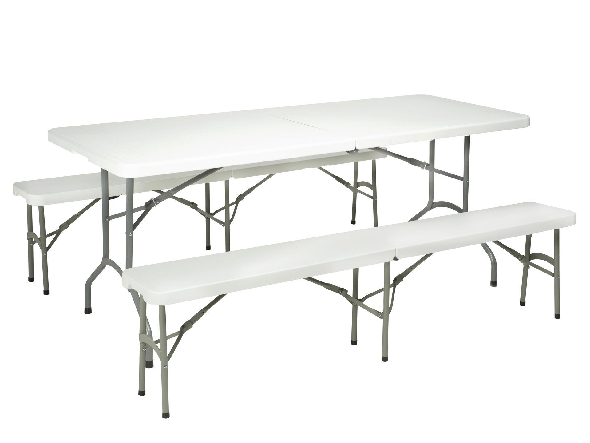 Table Pliante 180x74 Cm Blanc Hubo
