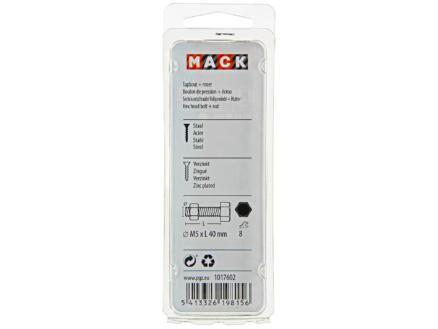 Mack Tapbout met moer M5 40mm verzinkt 10 stuks
