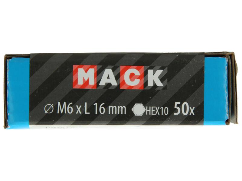 Mack Tapbout met moer M6 16mm verzinkt 50 stuks