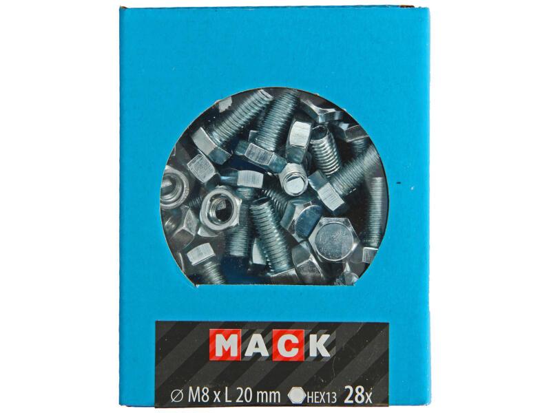 Mack Tapbout met moer M8 20mm verzinkt 30 stuks