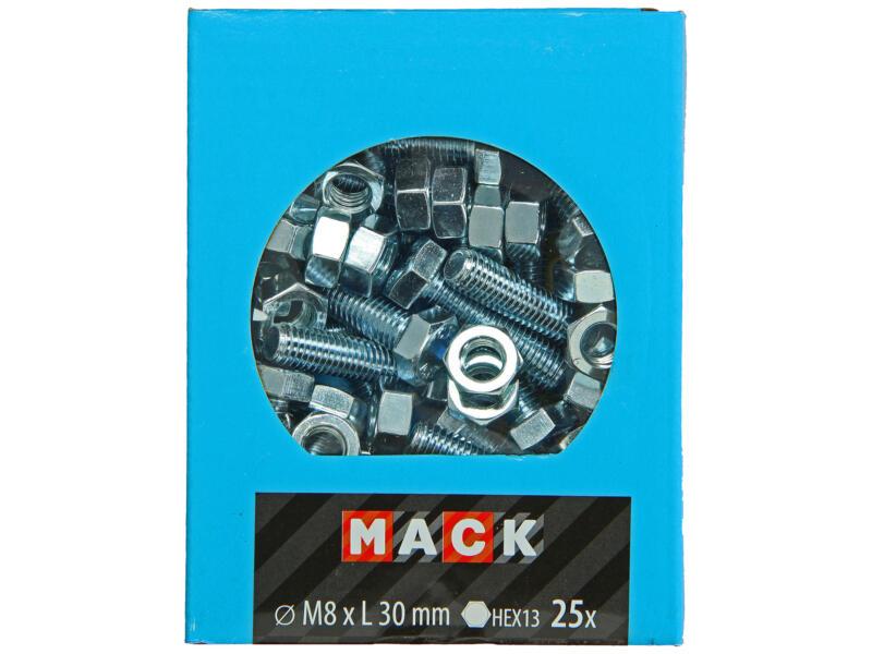 Mack Tapbout met moer M8 30mm verzinkt 25 stuks
