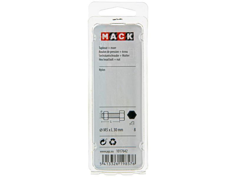 Mack Tapbout met moer nylon M5 30mm nylon 6 stuks