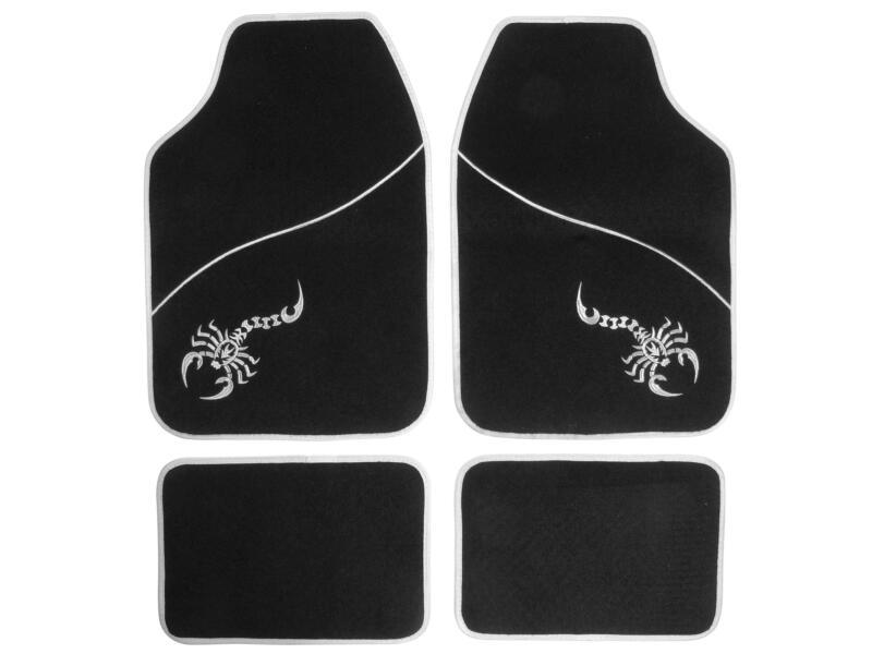 Carpoint Tapis de sol Scorpion 4 pièces noir et gris