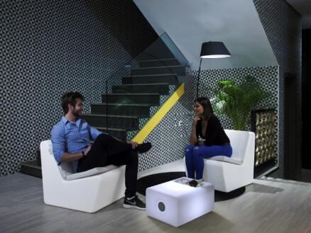 Tarida ensemble de jardin lumineux avec 2 chaises blanc
