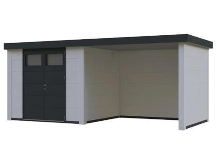 Telluria Eleganto Lounge tuinhuis 240x240 cm metaal wit/antraciet + uitbreiding 280cm