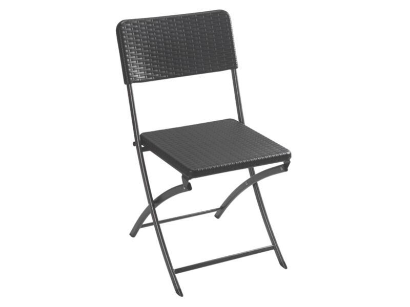 Perel Tibo chaise pliante résine tressée noir