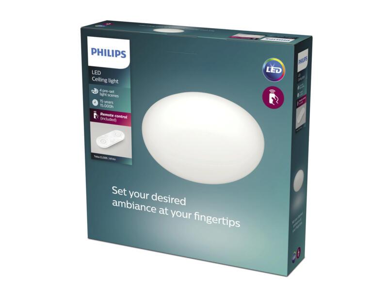 Philips Toba plafonnier LED 23W dimmable + télécommande blanc