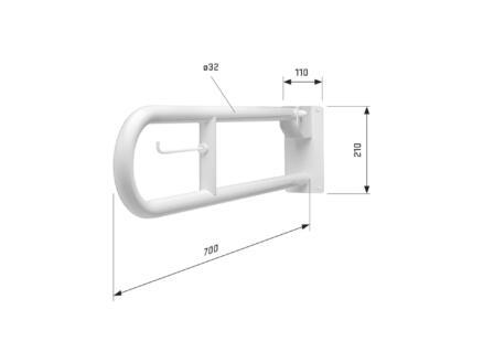 Toiletbeugel 70cm opklapbaar wit
