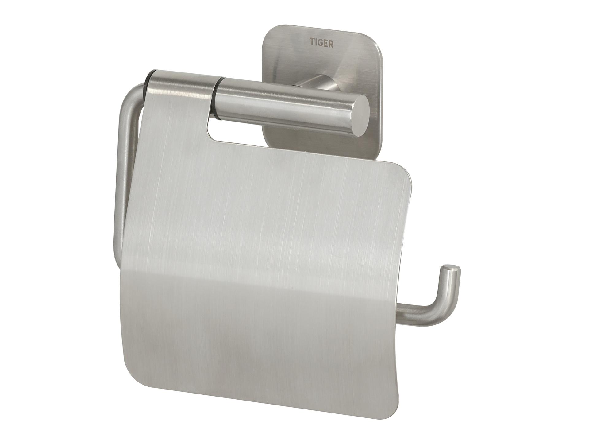 Tiger Badkamer Accessoires : Tiger toiletrolhouder met klep colar geborsteld inox hubo