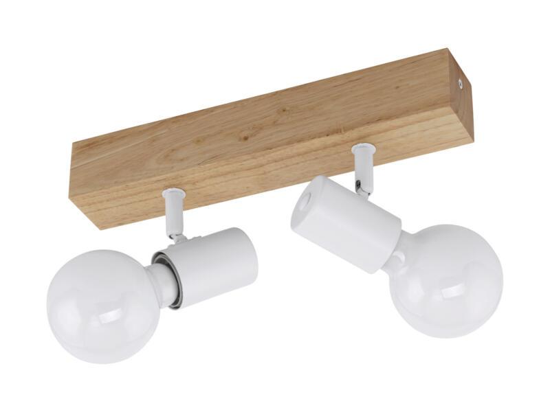 Eglo Townshend 3 barre de spots E27 max. 2x60 W chêne/blanc