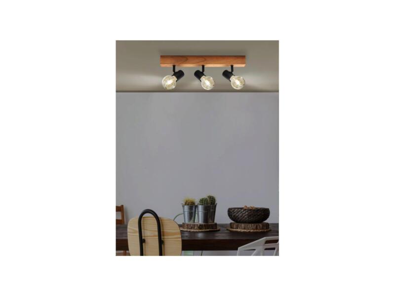 Eglo Townshend 3 barre de spots E27 max. 3x60 W noir/chêne