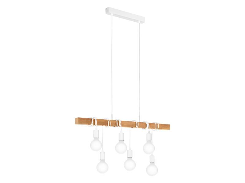 Eglo Townshend hanglamp E27 max. 6x60 W wit/eik