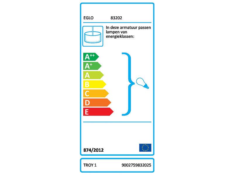 Eglo Troy1 hanglamp E27 max. 60W nikkel mat rood/oranje