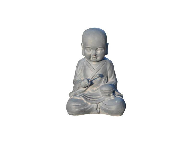 Tuinbeeld baby monnik drummend