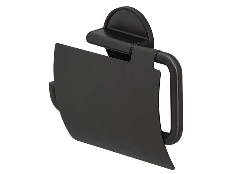 Tiger Tune WC-rolhouder met klep metaal geborsteld/zwart