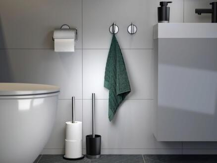 Tiger Tune brosse WC avec support à poser acier inox/noir