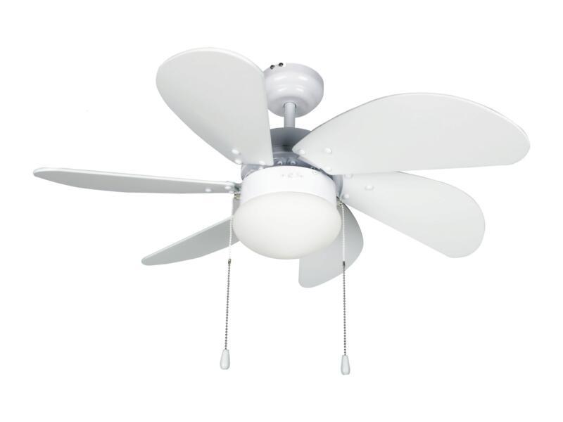 Ventilateur de plafond 55W avec lampe E27 max. 60W blanc