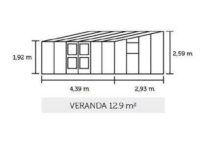 Juliana Veranda 129 serre adossée verre de sécurité anthracite