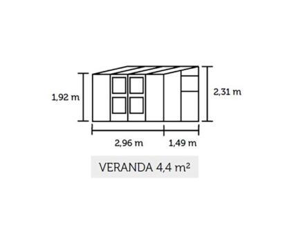 Juliana Veranda 44 muurserre veiligheidsglas antraciet