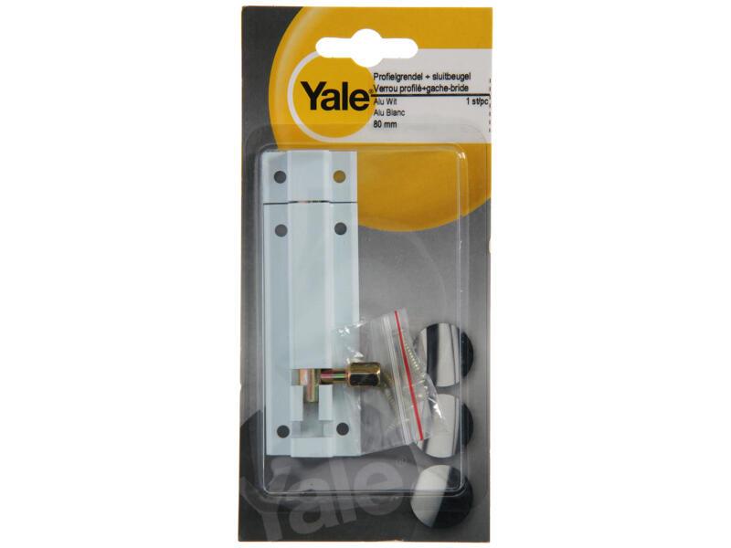 Yale Verrou profil avec gâche-bride 80mm blanc
