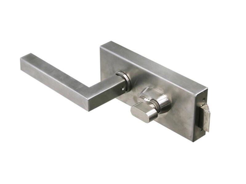 Solid Vetro deurklink met cilinderslot op plaat 240mm  inox