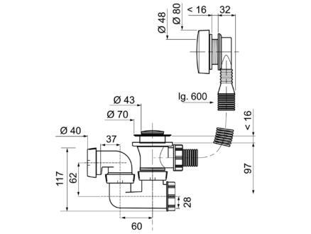 Wirquin Vidage de baignoire à câble avec siphon orientable