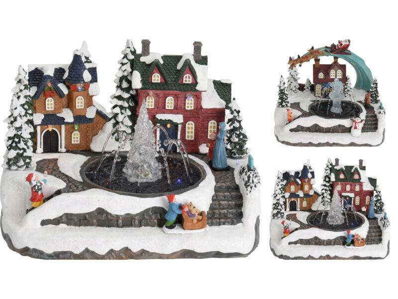Village de Noël LED fontaine 25,5x20x19 cm disponible en 2 modèles