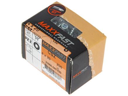 Maxxfast Vis à bois PZ 20x4 mm zingué 200 pièces