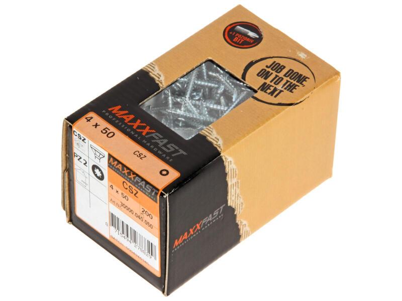 Maxxfast Vis à bois PZ 50x4 mm zingué 200 pièces