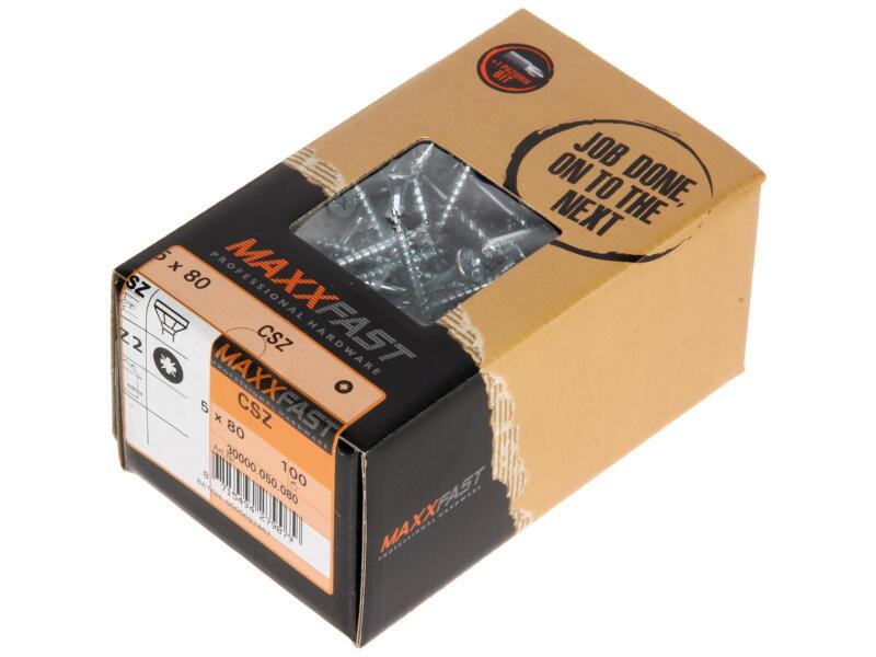 Maxxfast Vis à bois PZ 80x5 mm zingué 100 pièces
