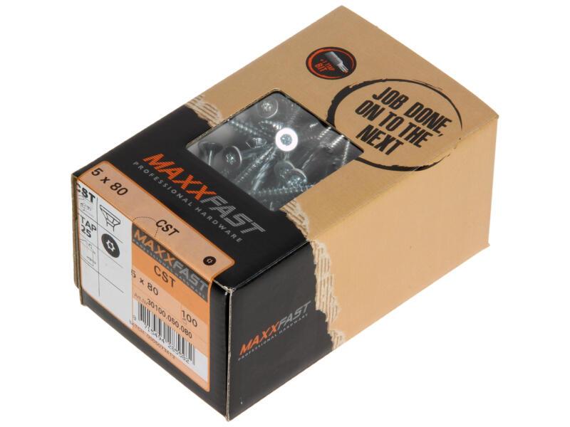 Maxxfast Vis à bois TX 80x5 mm zingué 100 pièces
