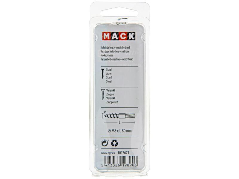 Mack Vis à double filetage M8 80mm zingué 4 pièces