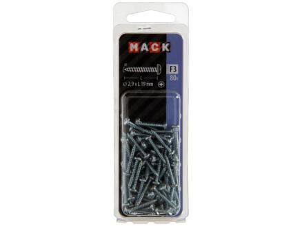 Mack Vis à tôle PZ1 19x2,9 mm zingué 80 pièces
