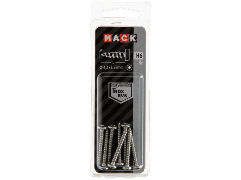 Mack Vis à tôle PZ2 32x4,2 mm inox 8 pièces