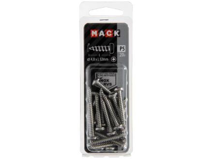 Mack Vis à tôle PZ2 32x4,8 mm inox 20 pièces