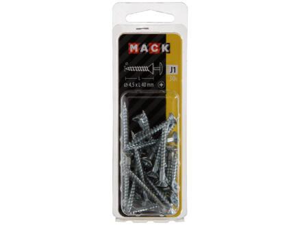 Mack Vis avec trou PZ2 40x4,5 mm zingué 30 pièces