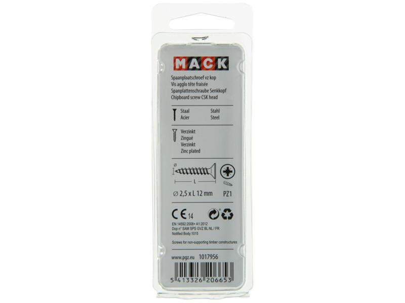 Mack Vis pour aggloméré PZ1 12x2,5 mm bichromate 200 pièces