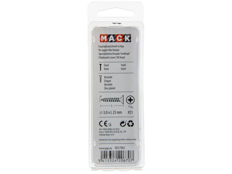 Mack Vis pour aggloméré PZ1 25x3 mm bichromate 100 pièces