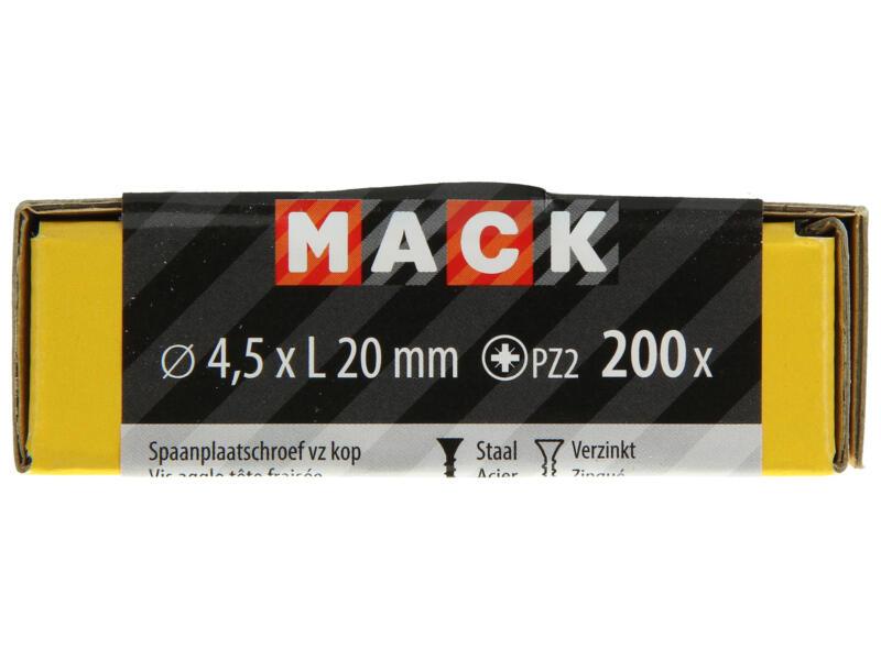 Mack Vis pour aggloméré PZ2 20x4,5 mm bichromate 200 pièces