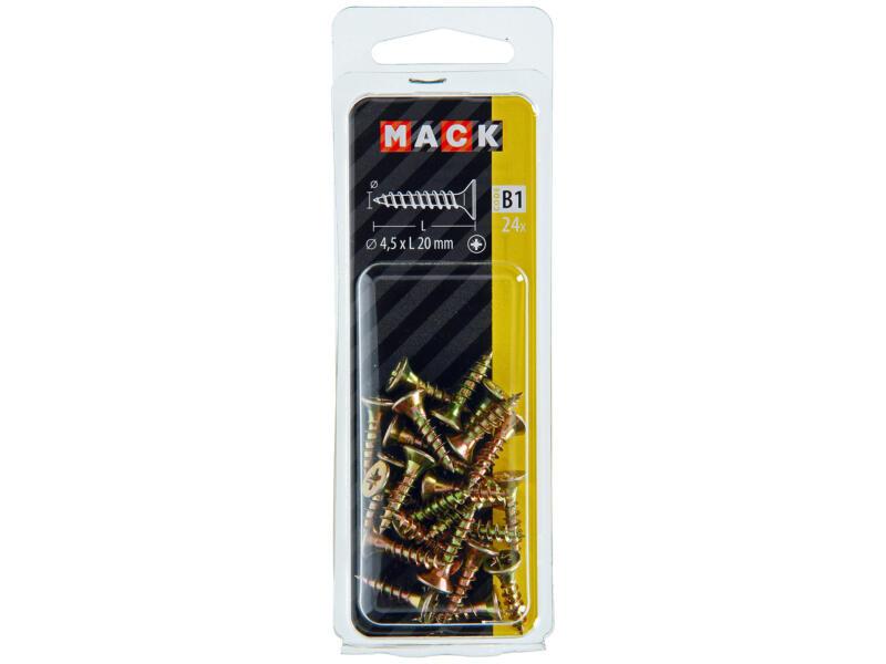 Mack Vis pour aggloméré PZ2 20x4,5 mm bichromate 24 pièces