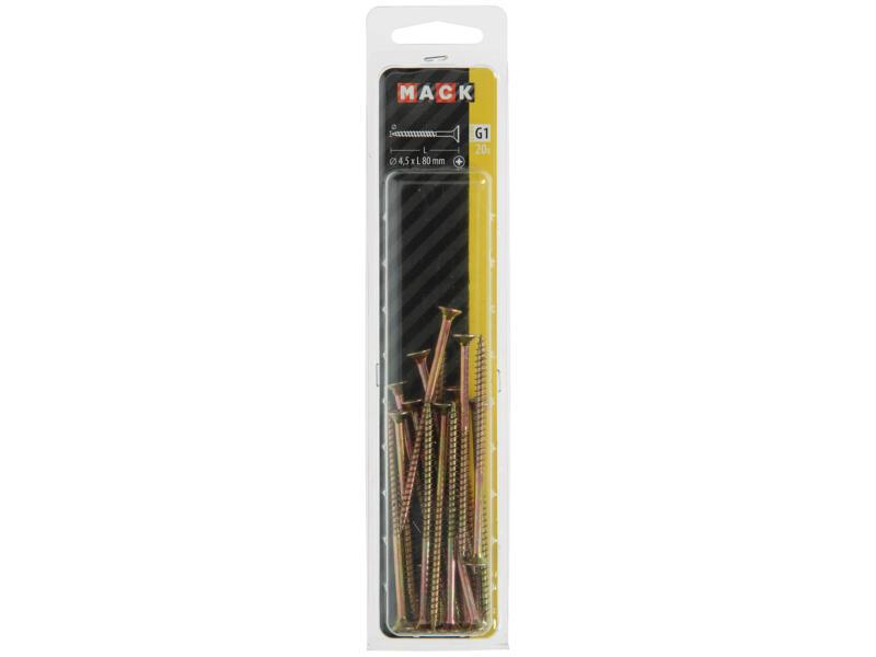 Mack Vis pour aggloméré PZ2 80x4,5 mm bichromate 20 pièces