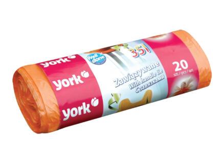York Vuilniszakken met handvat 35l 20 stuks
