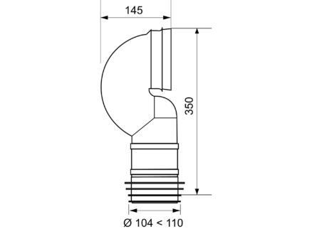 Wirquin WC-afvoerbocht 110mm ruimtebesparend