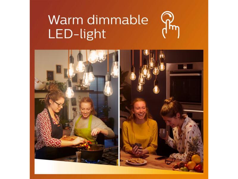 Philips WarmGlow LED peerlamp filament 8W E27 dimbaar