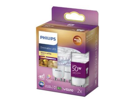 Philips WarmGlow LED spot GU10 3,8W dimbaar 2 stuks