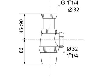 Wirquin Wastafelsifon oriënteerbaar 32mm